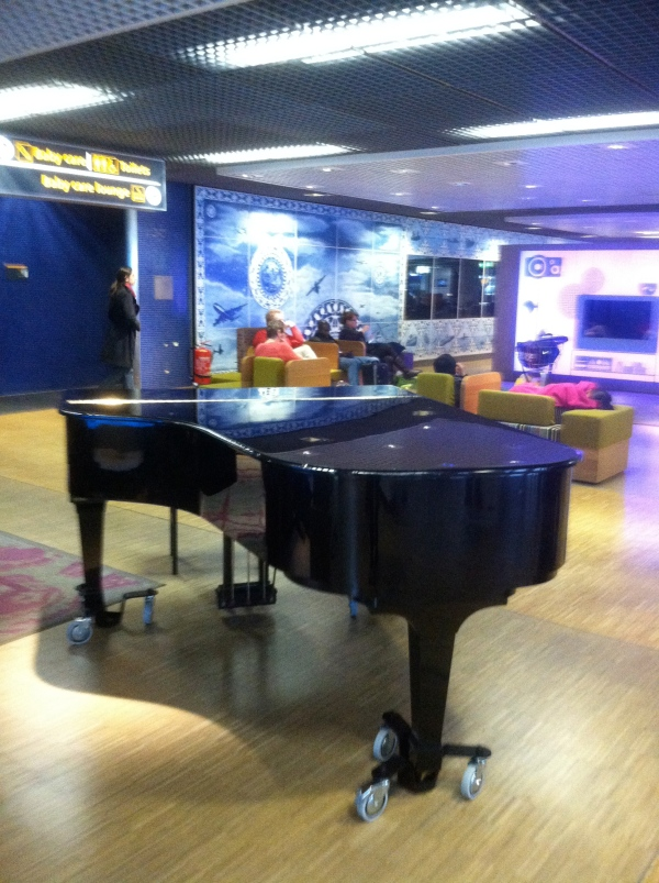 airport lounge with piano